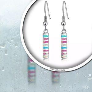 Jewelry - Pink, White & Blue Fire Opal Earrings